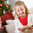 Christmas: Girl Holding Plate of Cookies For Santa — Stock Photo #32969871