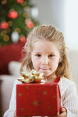 Christmas: Little Girl Holds Christmas Present — Stock Photo