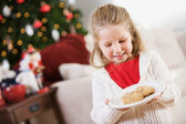 Christmas: Getting Out Cookies For Santa — Φωτογραφία Αρχείου