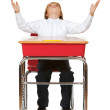 Student: Frustrated Boy At Desk — Stock Photo