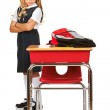 Student: Frustrated Girl Looks At Desk — Stock Photo
