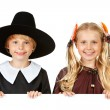 Stock Photo: Thanksgiving: Cheerful Thanksgiving Indian and Pilgrim
