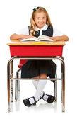 Student: Cheerful Schoolgirl Reading Book — Stock Photo