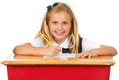 Student: Young Girl Working on Assignment — Stock Photo