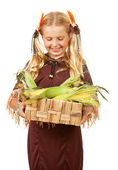 Thanksgiving: Indian Girl with Corn in Basket — Stock Photo