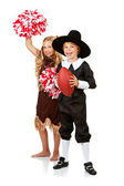 Thanksgiving: Pilgrim and Indian are Football Fans — Stock Photo