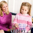 Hanukkah: Family Hanukkah Tradition Of Lighting Candles — 图库照片