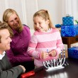 Stock Photo: Hanukkah: Family Ready to Light Candles