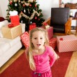 Christmas: Girl Excited on Christmas Morning — Stock Photo