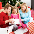 Christmas: Christmas Morning Family Present Time — Stock Photo