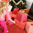 Christmas: Girl Runs to Presents Christmas Morning — Stock Photo