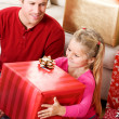 Christmas: Girl Excited To Open Big Box — Stock Photo