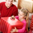 Christmas: Girl Excited To Open Big Box — Stock Photo #33347499