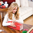 Christmas: Woman Wrapping Christmas Gift — Stock Photo #33802393