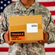 Soldier: Man Receives Package in Mail — Stock Photo