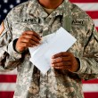 Soldier: Opening a Letter — Stock Photo