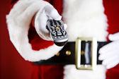Santa: Holding Television Remote Control — Stock Photo