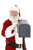 Santa: Looking In Mailbox — Stock Photo