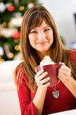 Christmas: Woman Holding Mug of Cocoa — Stock Photo
