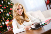 Christmas: Woman Writing Christmas Cards — Stock Photo