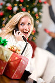 Christmas: Woman Talking On Telephone — Stock Photo