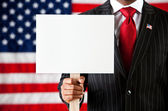 Politician: Holding Up Blank Sign — Stock Photo