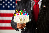 Politician: Cake with Birthday Candles — Stock Photo