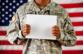 Soldier: Holding Blank Sign — Stock Photo