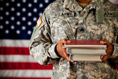 Soldier: Student Holding Stack of School Books — Stock Photo