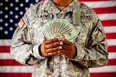 Soldier: Holding Money Fan — Stock Photo