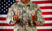 Soldier: Giving a Thumbs Up — Stock Photo