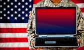 Soldier: Holding Monitor with Blank Screen — Stock Photo
