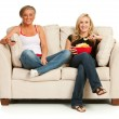 Fans: Women Sitting and Watching TV — Stock Photo
