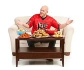 Fans: Man Excited to Eat Snacks — Stock Photo
