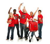 Fans: Fans Have Tailgate Party Before Game — Stock Photo
