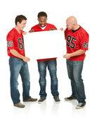 Fans: Men Holding Blank Sign — Stock Photo