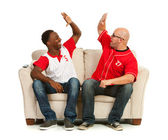 Fans: Men High Five Each Other — Stock Photo