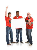 Fans: Guys Cheering with Blank Sign — Stock Photo