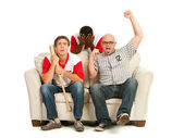 Fans: Man Cheers for Own Team — Stock Photo