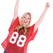 Football: Female Football Fan Cheering — Stock Photo