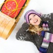 Winter: Laughing Woman With Sled — Foto de Stock