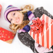 Winter: Holding Out A Christmas Gift — Stok Fotoğraf #34767557