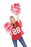 Football: Woman Cheering For Her Team — Stock Photo