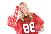 Football: Woman Cheering With Number One Finger — Stock Photo