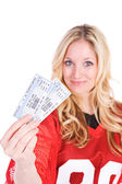 Football: Woman Holding TIckets To Game — Stock Photo