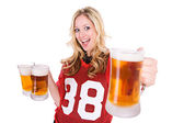 Football: Woman Holding Up Beer — Stock Photo