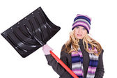 Winter: Woman Doesn't Want To Shovel Snow — Stock Photo