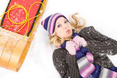 Winter: Winter Woman Cold In Snow — Stock Photo
