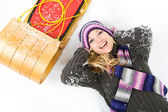 Winter: Laughing Woman With Sled — Stock Photo