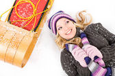 Winter: Snowy Woman Glances To Side — Stock Photo